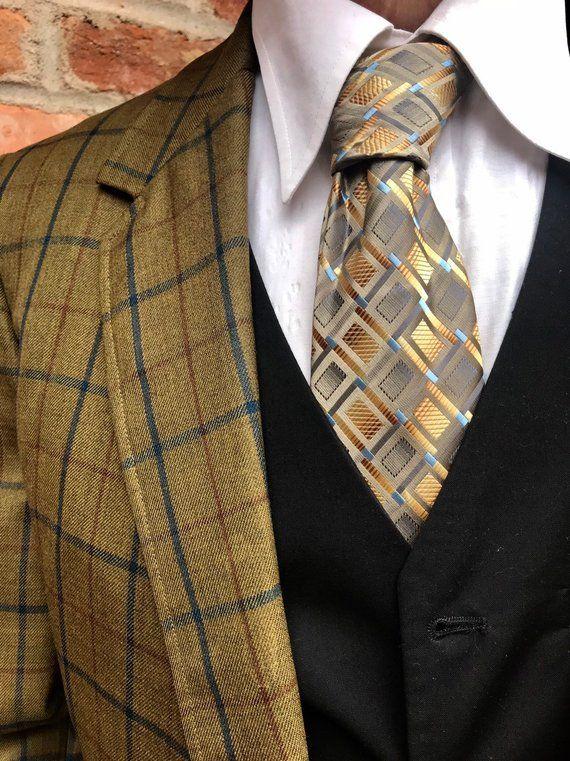 UK. Vintage Green Mens Tweed Wool Skinny Tie Excellent Quality /& Reviews