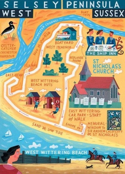 Selsey map, West Sussex - 'Walk of the Month' The Daily Telegraph Acrylic on paper John Montgomery