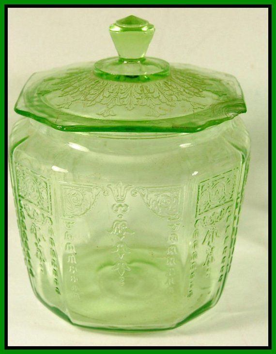 Green Depression Glass Cookie Jar With Lid  Anchor Hocking Glass Princess  Pattern