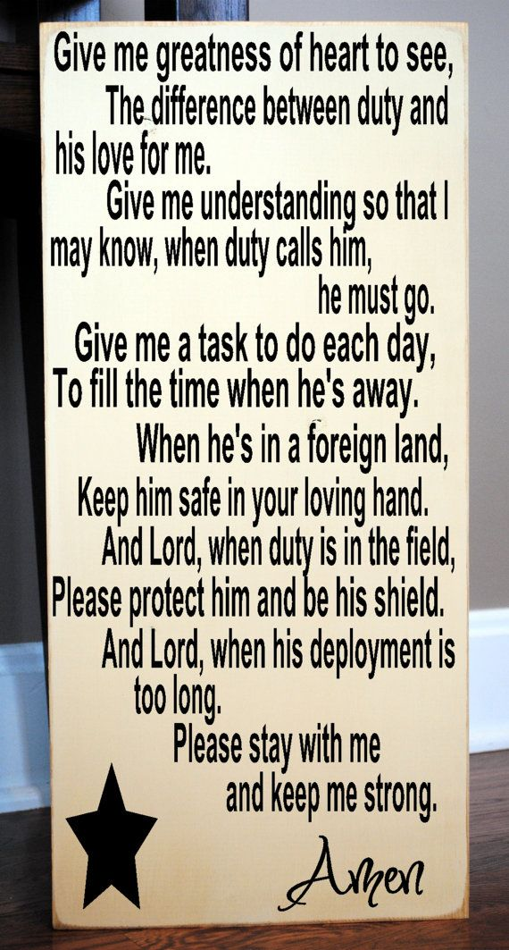 """Deployment Prayer Wooden Vinyl Subway Art Sign 12"""" x 24"""".  Military decor for a loved one's family by HD Vinyl Designs on Etsy, $32.00"""