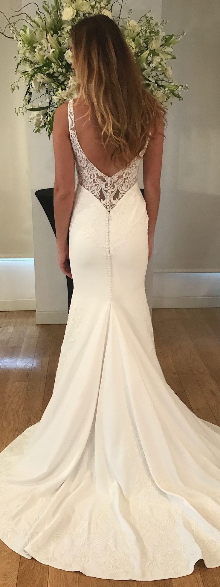 Roxy wedding dress by Kelly Faetanini // Crepe v-neck slim gown with plunging back and embroidered appliques