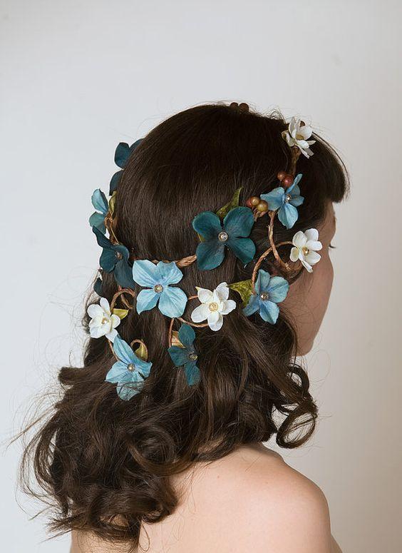 Floral Crown Head Piece - Cascading Veil of Turquoise Blue & Aqua Flowers - Woodland Wedding Wreath, Forest Nymph Circlet. $56.00, via Etsy.: