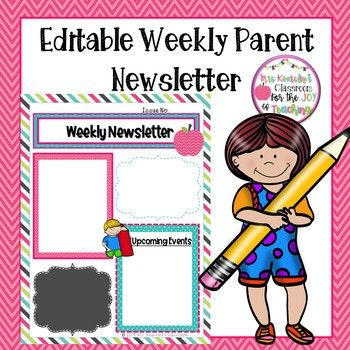 editable parent newsletter template weekly classroom letter