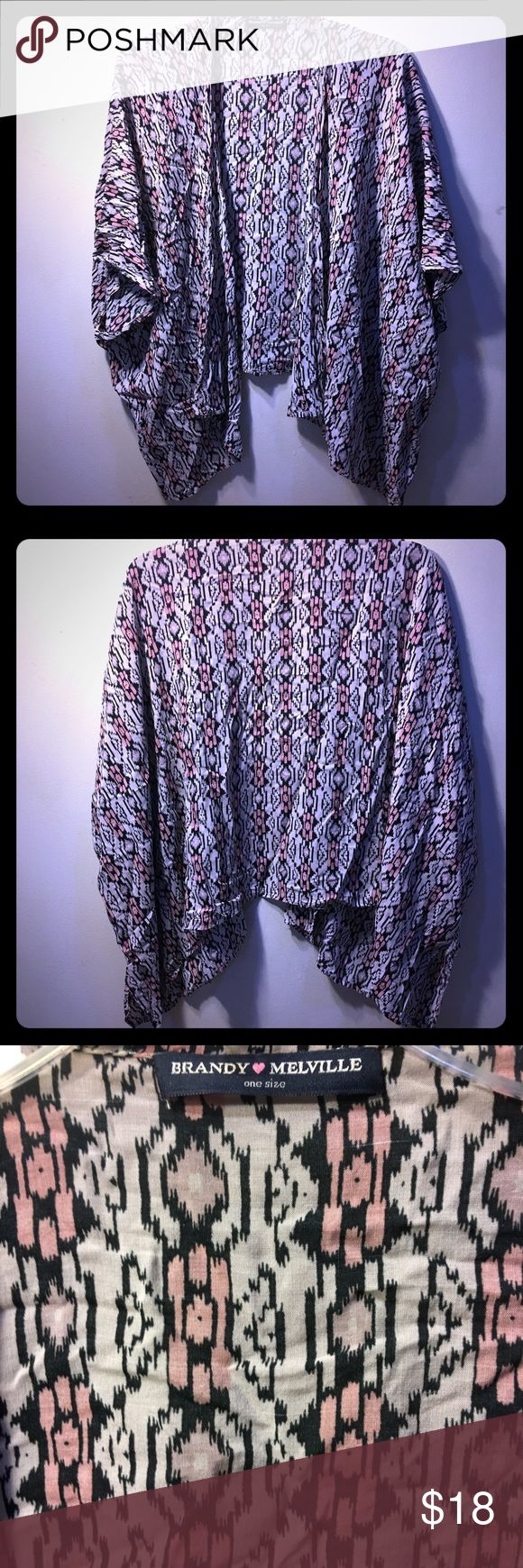 Brandy Melville Tribal / Geometric Open Cardigan Brandy Melville Tribal / Geometric / southwestern design Open Cardigan in one size.  Cascade bottom with hem being shorter in front and longer to the side.  Has some pulled threads.  Wrinkled.  From a smoke free home. Brandy Melville Tops