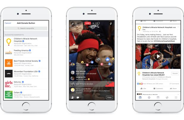 Facebook introduces personal fundraising tools donate buttons in Facebook Live for Pages