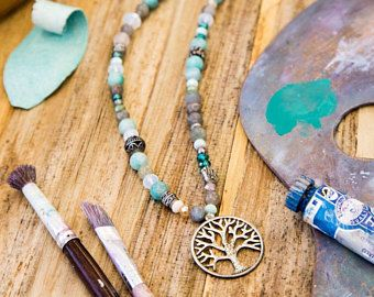Tree of life 108 mala necklace with multiple semi-precious stones and clystals, 108 Mala beads, yoga gift, meditiation jewelry, present