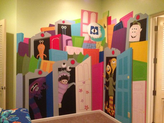 Monsters and Doors Handpainted Wall Mural on by KidMuralsbyDanaR
