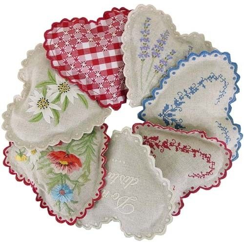 Hand embroidered heart shaped French lavender sachet by touchofeurope