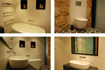 An elegant and unique bathroom design. Featured Products: Subway Wall Hung Pan, DC Short Vega Heated Rail, IOS Bath and IOS Basin, Axor Citterio M Tapware, Tece Square Metal Button. Blending organic textures with sleek and modern lines and Moroccan tiles