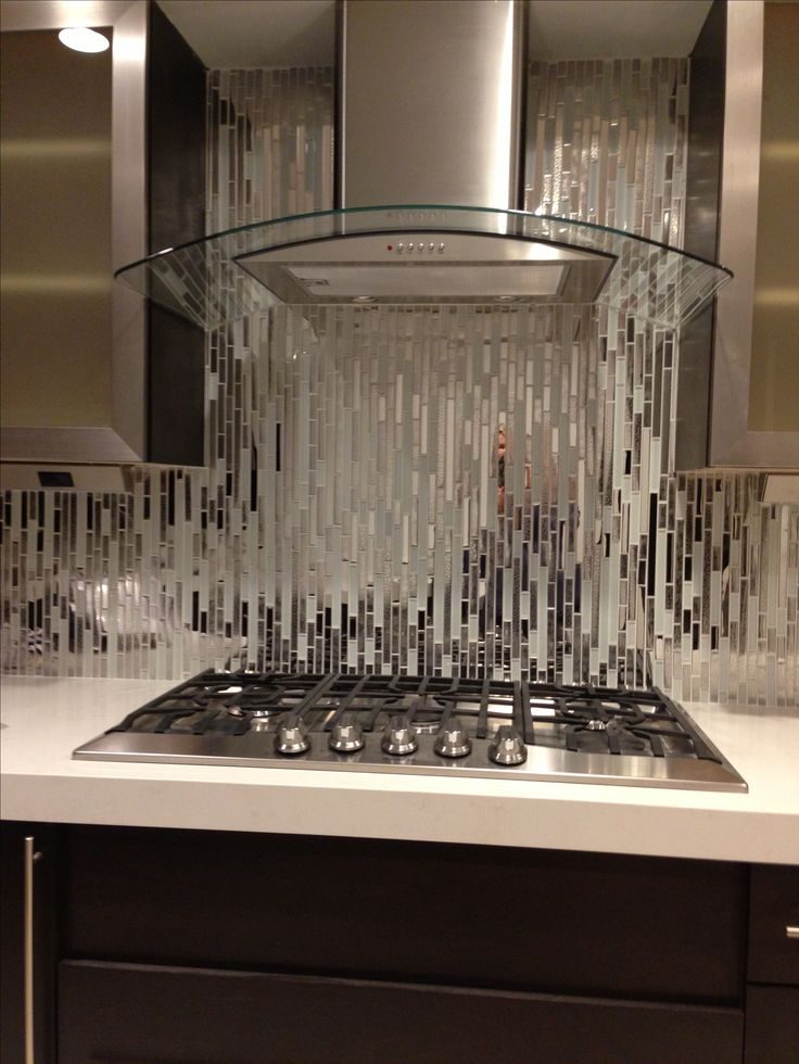 Mixed Tile With White Glass And Textured MetalArt Decor, Backsplash ...