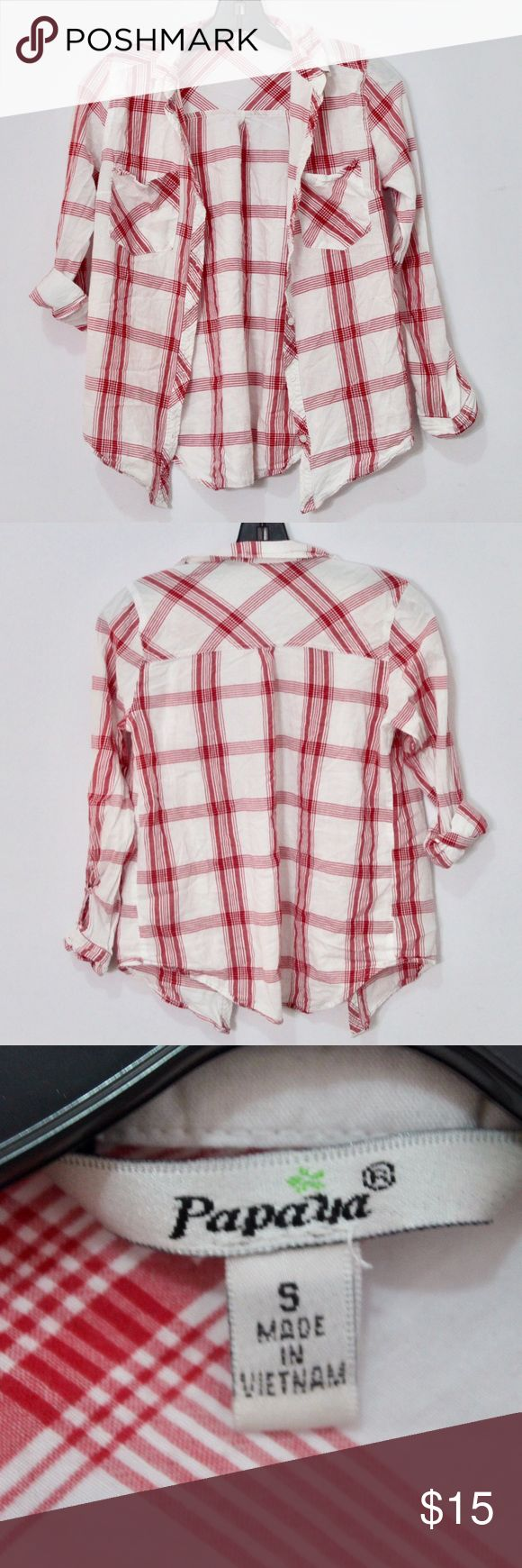 Papaya clothing red button down plaids In good condition red and white stripe plaids. Can wear it as long sleeves or half sleeve up like the last picture! Papaya Tops Button Down Shirts