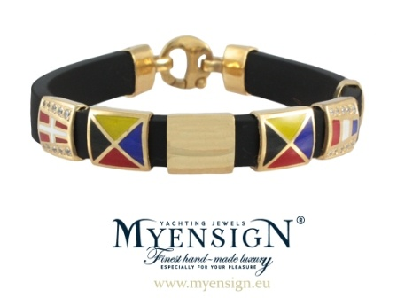 MyEnsign Yachting Jewels - Original Collection Bracelet - Yellow Gold with Brilliants www.myensign.eu #sailing #yachting #jewelry #boating #nautical flag