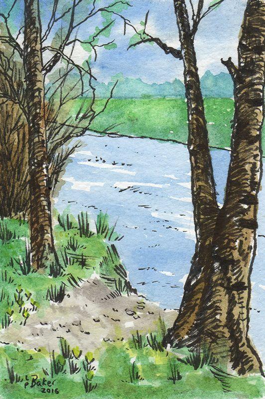 """By the River Derwent"", pen and watercolour on paper, 4x6"". #watercolor #watercolour #penandwash"