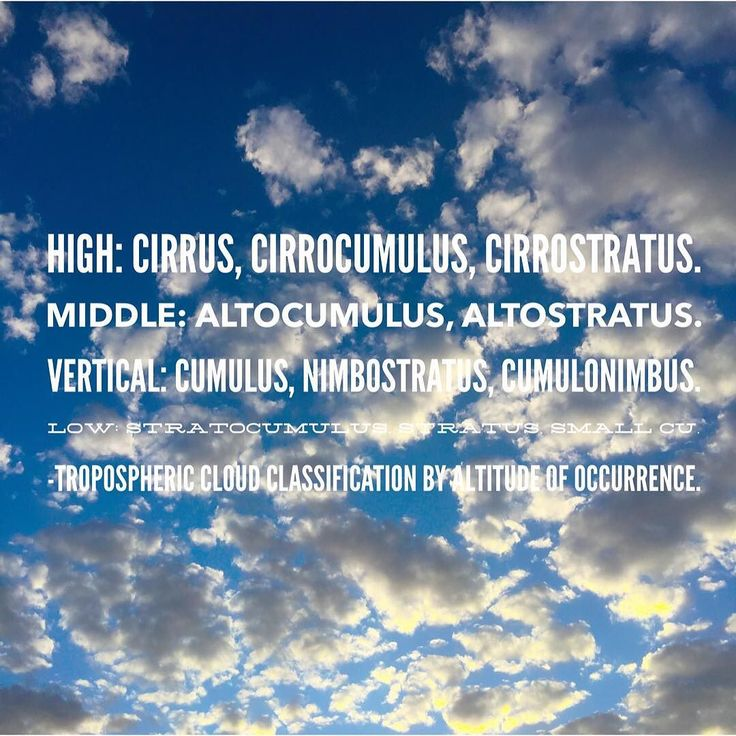 Tropospheric cloud classification by altitude of occurrence.   High: Cirrus cirrocumulus cirrostratus.   Middle: Altocumulus altostratus.   Vertical: Cumulus nimbostratus cumulonimbus.   Low: Stratocumulus stratus small Cu.  #cloud  #cloudtechnology  #CloudBusiness  #automation #Accounting  #Bookkeeping  #startuplife  #entrepreneurs  #focused  #simplify  #taskmanagement  #organized #todolist  #workfromhome  #makeithappen  #empower #productivity  #seizetheday