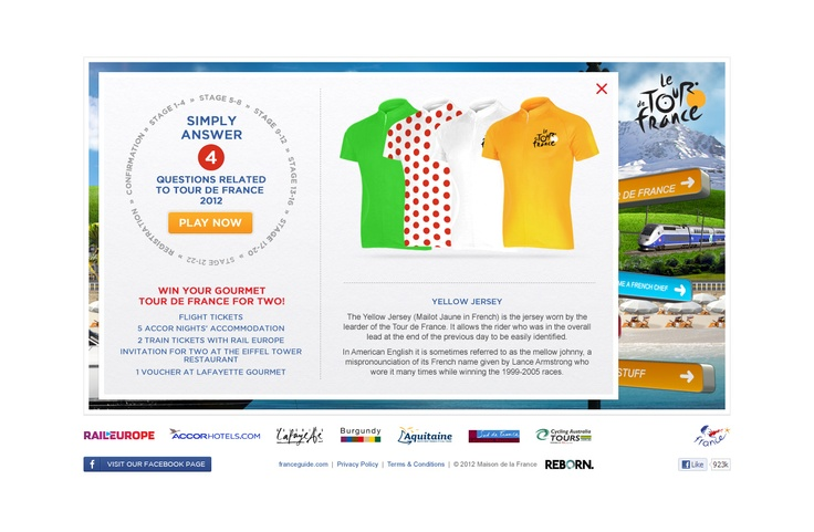 Gourmet Tour France Competition:  Simply answer our survey and try to winn a trip to Paris! let's see if you are a real gourmet.  To play click on the Following link: http://www.experiencetourdefrance.com.au/