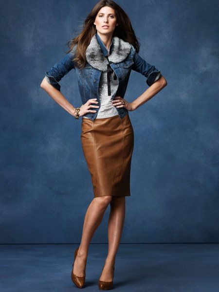 Talbots- who would have thought? I like the brown leather skirt.