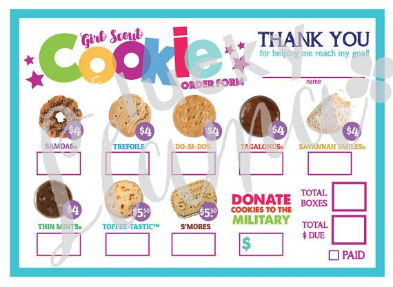 Listing is for one printable Girl Scout mini Cookie Order form design. PRICES ARE AT $4-5.50/box WITH MILITARY OPTION. You will receive a printable 8.5 x 11 with 4 order forms on one page for easier printing. You will receive your instant download prior to payment. Purchase, download