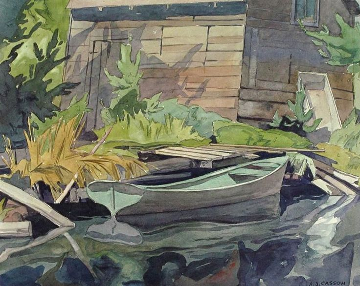 Alfred Joseph Casson - Rowboat at a Cottage Dock - Color Lithograph