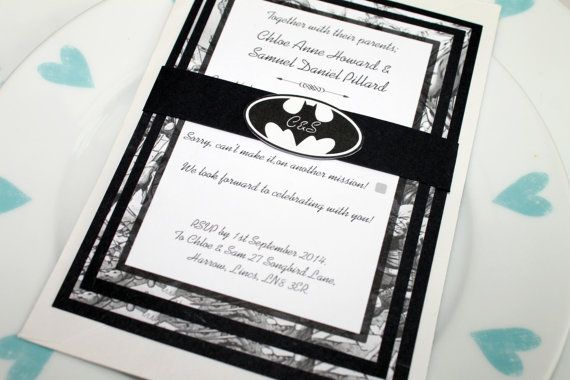 Batman Black and White Marvel/DC Comic Book Wedding Invitation Set SAMPLE
