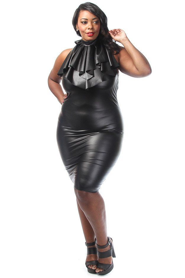 Plus Size Ruffled Faux Leather Dress Sexy Models And Leather