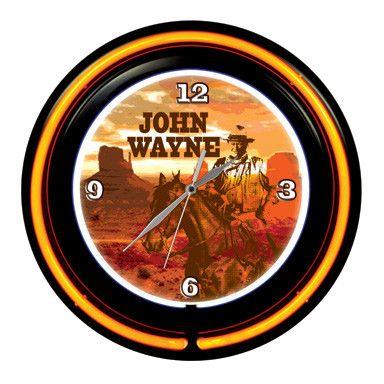 "John Wayne 15"" Double Neon Clock"