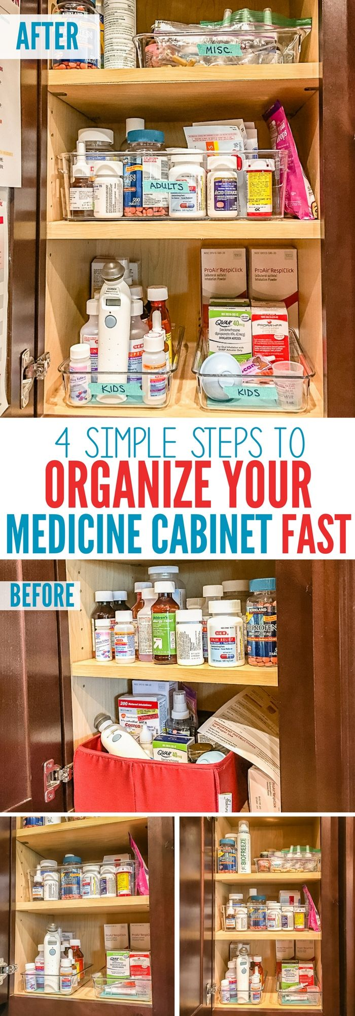 Tired of not being able to find what you need late at night when you have a sick child? Here are 4 simple steps to organizing your medicine cabinet QUICKLY and easily! Plus a fun DIY idea for the inside of your cabinet!