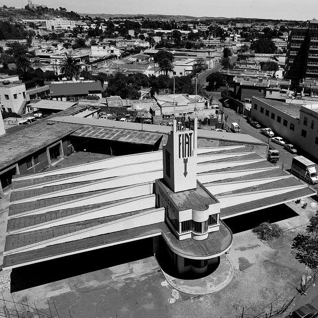 Fiat Tagliero buildling in Asmara, Eritrea by Eric Lafforgue, via Flickr