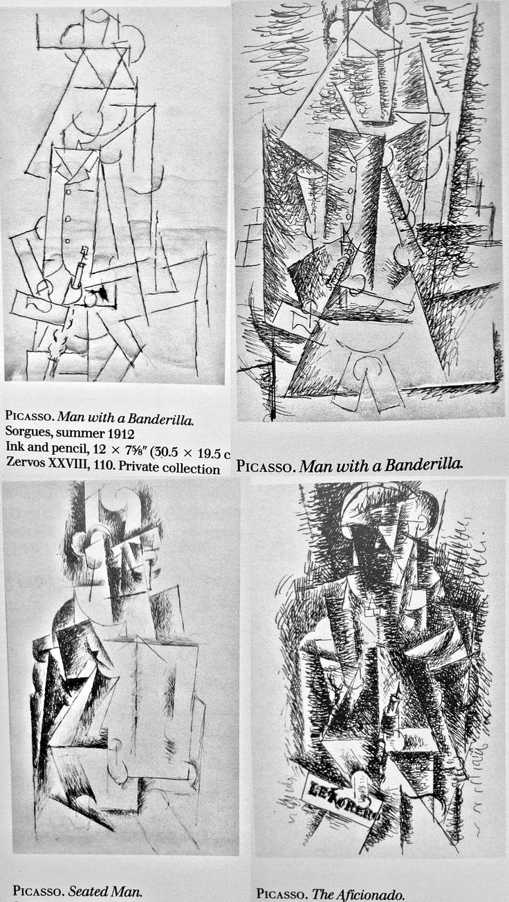 Picasso: early states of the figure which eventually became The Aficionado.