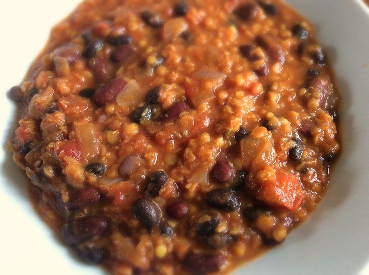 Veganes Chili mit Bohnen und Kürbis ohne Soja  #vegan #chili #protein #sojafrei