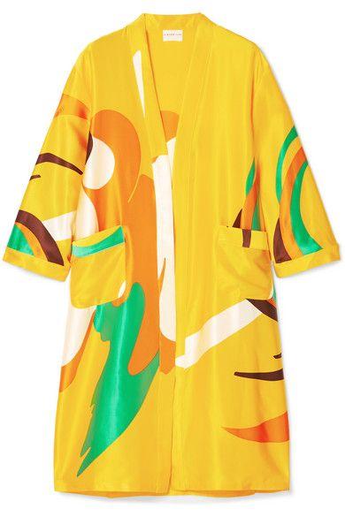 4eec26524 GABRIELLE'S AMAZING FANTASY CLOSET | Simon Miller's Vivid Yellow  Knee-Length Kimono is cut from Silk-Satin with a Riotous, Bright Green,  Orange and White ...