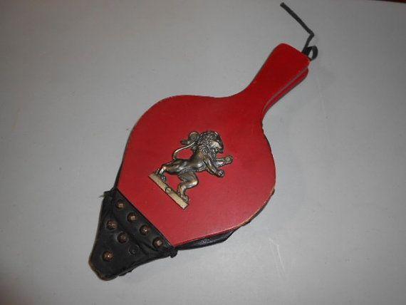Vintage Wood Leather Fireplace Bellows Lion Eblem Have by BathoryZ