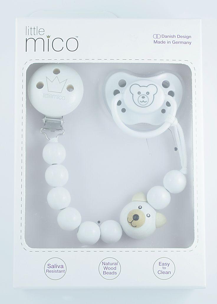 Littlemico™ Teddy Pacifier holder Gift Set. Packaging