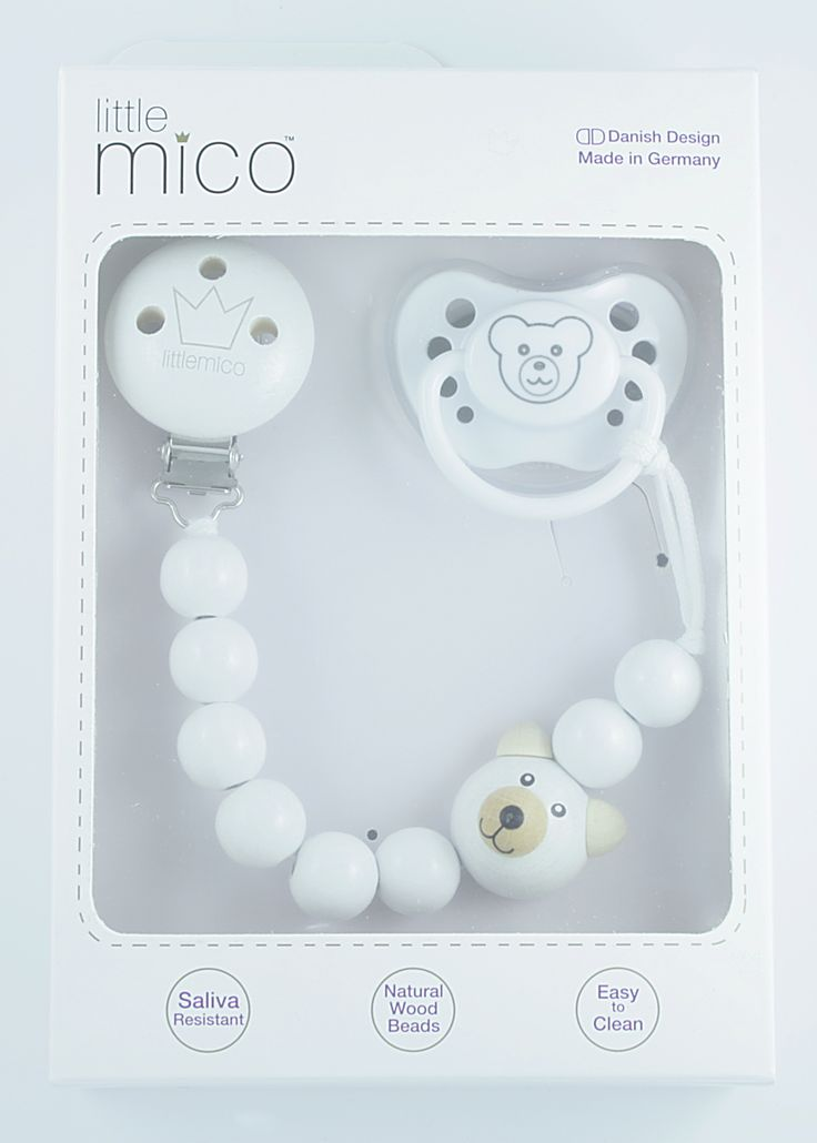 Littlemico™ Teddy Pacifier holder Gift Set. Packaging