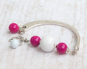 Hot pink bracelet, White and pink bracelet, Pink and white jewelry, Mother gift, Gift for mother, Birthday present for mother