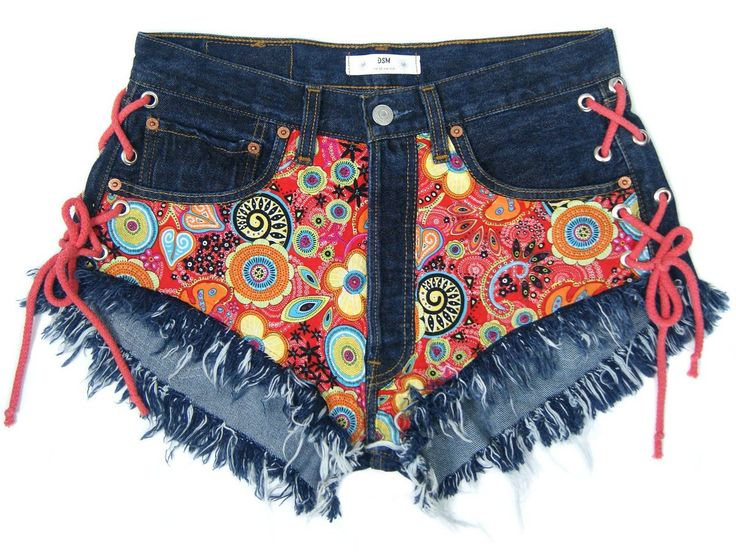 BOHO DENIM SHORTS Lace up bohemian high waisted denim shorts vintage Levis jeans regular cut off jeans festivalstyle L size 31 waist by DSMjeans on Etsy