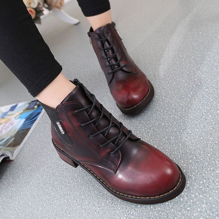 Fashion Women Ankle Booties Lace Up Cuban Heels Lustrascarpe Colore Boots Size S