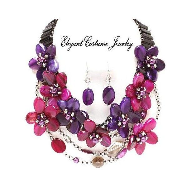 Purple Pink Beauty Semi Precious Chunky Flower Necklace Set Costume... ❤ liked on Polyvore featuring jewelry, chunky costume jewelry, purple jewelry set, semiprecious stone jewelry, costume jewellery and semi precious stone jewellery