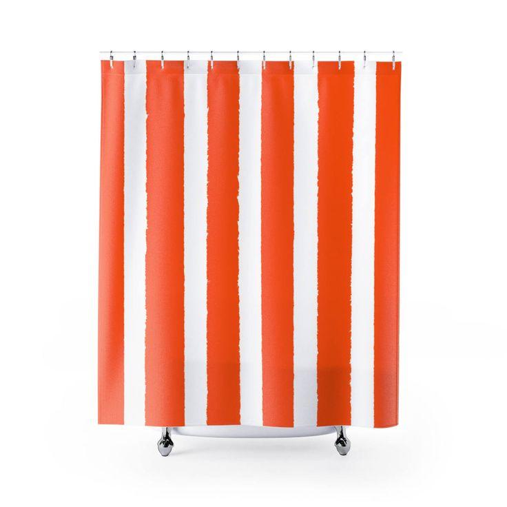 Orange Shower Curtain Orange Striped Shower Curtain Modern Orange Shower Curtain Shower Curtain