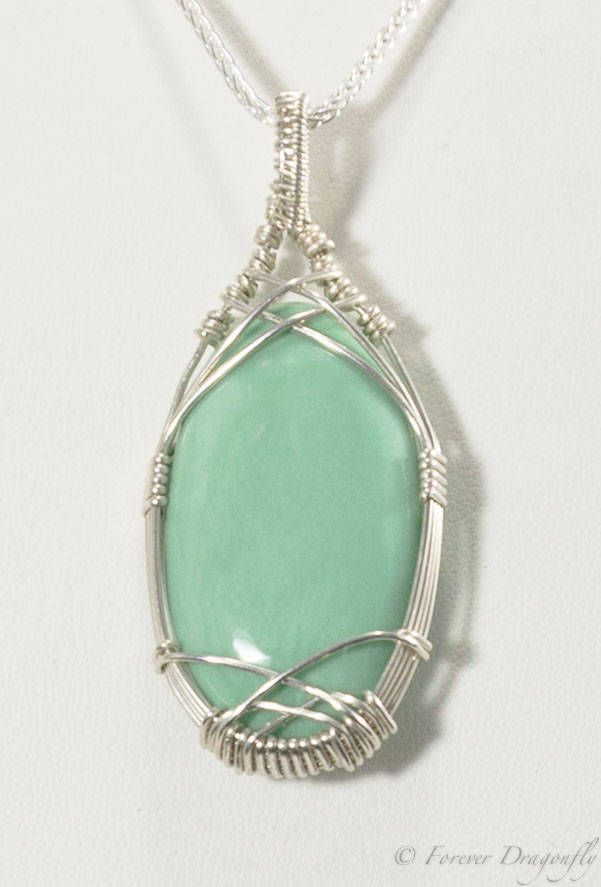 Silver Anniversary Jewelry Argentium  Silver Necklace Green Chrysoprase Silver Necklace for Women Green Gems Forever Dragonfly Jewelry