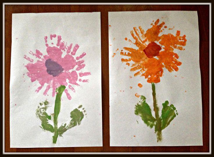 ideas with foot prints | Valentine's Day Craft ~ Handprint & Footprint Flowers