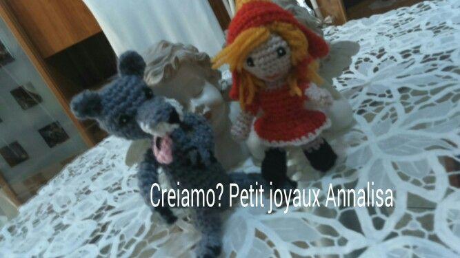Cappuccetto Rosso il lupo e la nonna amigurumi uncinetto