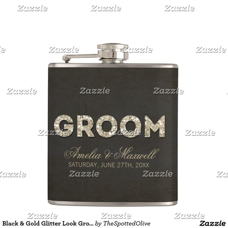 """Black & Gold Glitter Look Groom Flask This stylish flask design by The Spotted Olive™ features a black background with an image of streaming gems coming down from the top and the word """"groom"""" filled with an image of gold glitter. PLEASE NOTE: THIS DESIGN ONLY FEATURES A PRINTED IMAGE OF GLITTER; THERE IS NO PHYSICAL GLITTER USED OR INCLUDED; THERE ARE NO EMBELLISHMENTS. Copyright 2014-Present   The Spotted Olive™   All Rights Reserved"""