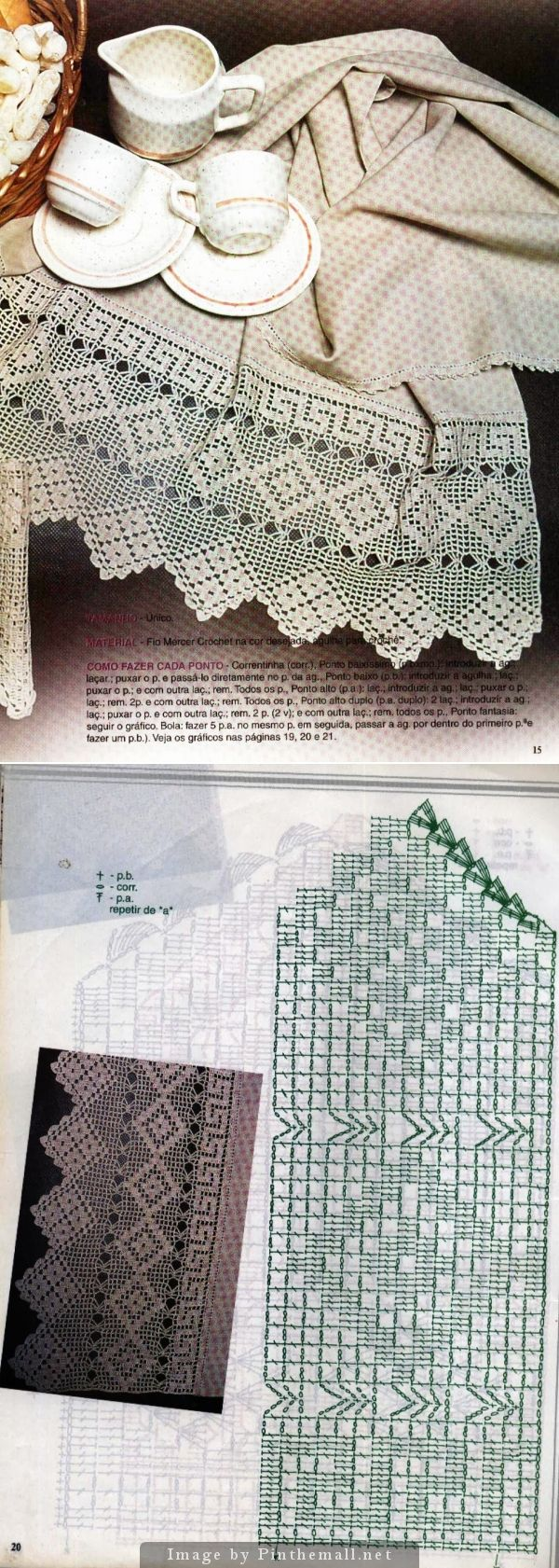 Filet crochet lace edging, Greek key & diamond points ~~ http://crocheartemanuais.blogspot.com/2013/12/barradinhos_7447.html