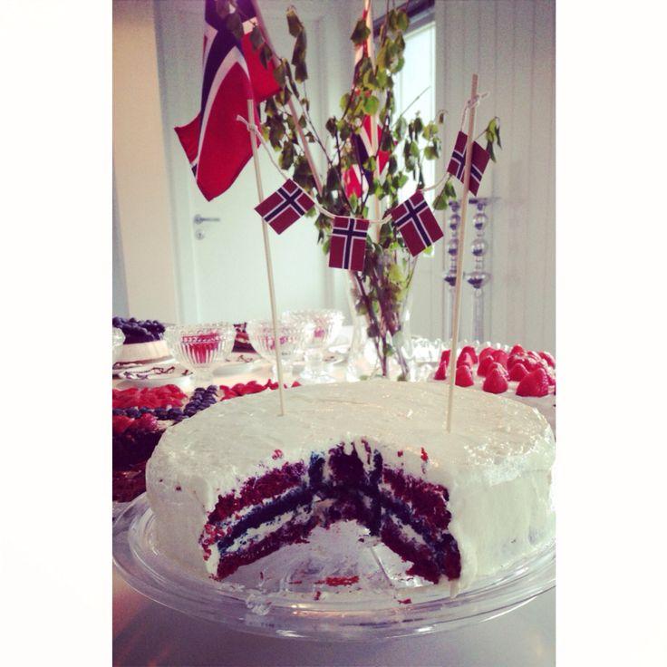 17. Mai kake National constitution day Norway Red Velvet cake Red white & blue