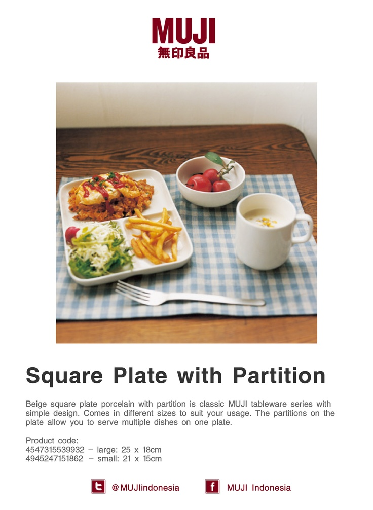 This square plate porcelain is MUJI classic tableware with partition that's allow you to serve multiple dishes on it