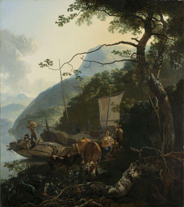 Schippers met hun boten aan de oever van een Italiaans meer; misschien bedoeld als de vlucht naar Egypte, Adam Pijnacker, 1650 - 1670
