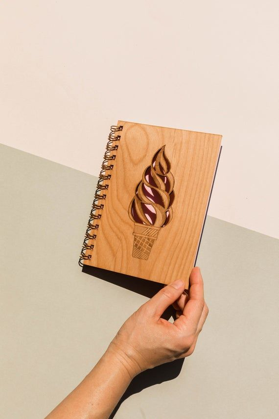Helado Cono Madera Diario [Wood Notebook / Journal for Girls / Laser Cut / Graphic Art]   – Products