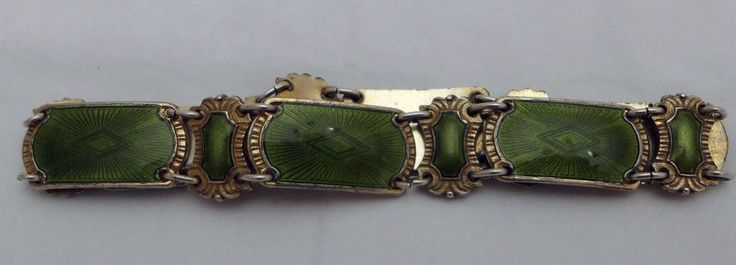 1960s IVAR T. HOLTH NORWAY STERLING SILVER GREEN GUILLOCHE ENAMEL BRACELET