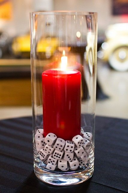 dice centerpiece... how cute for a game themed party!