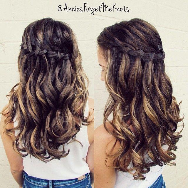 Waterfall braid with curls. ✨ #homecoming